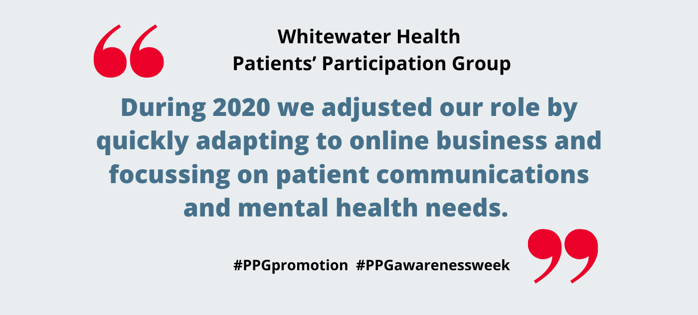 Whitewater Health Patients' Participation Group – how we adapted our role to meet the changing needs of the Practice